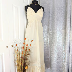 🆕 GAP Maxi Halter Dress Cream Sz L